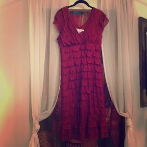 Max Studio Layered Burgundy Sleeveless Dress